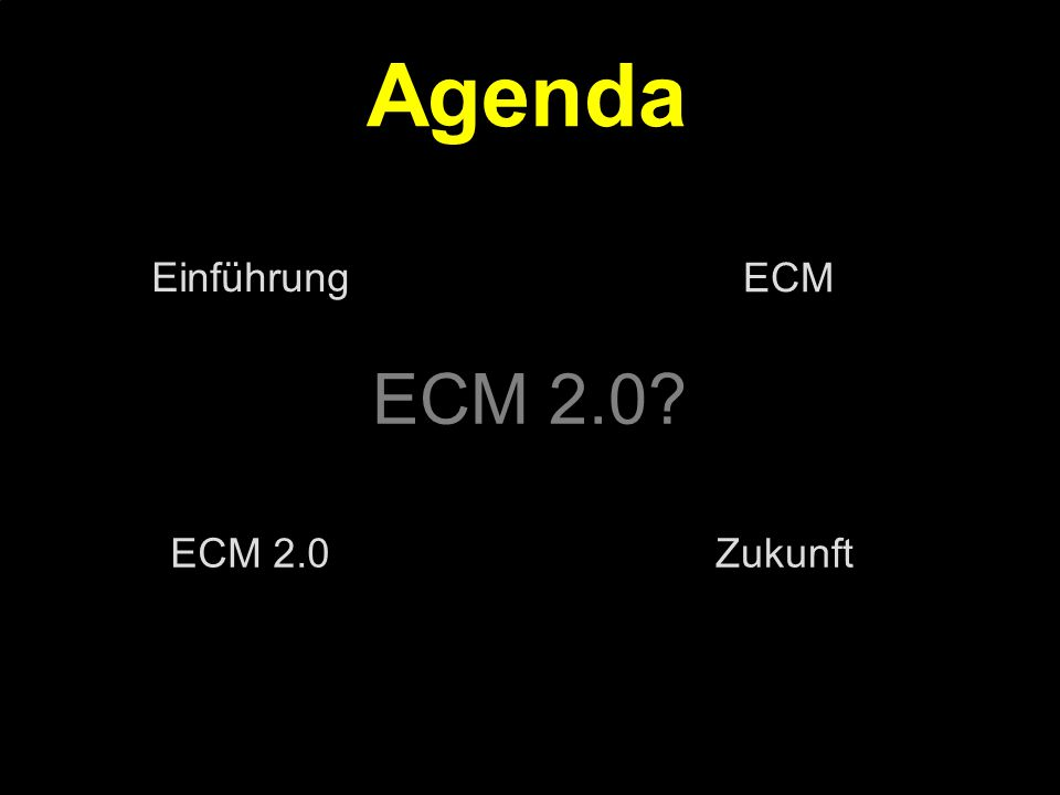 19 Kernpunkt Kompetenztag ECM 2.0.Dr. Ulrich Kampffmeyer PROJECT CONSULT Unternehmensberatung Dr.