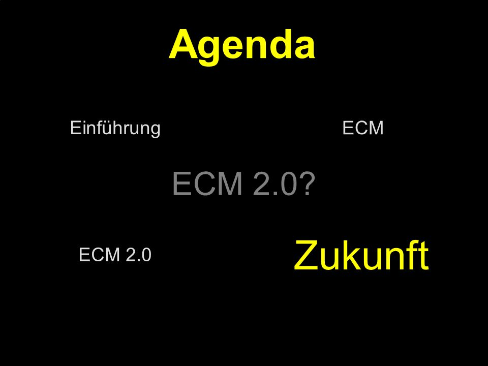 38 Kernpunkt Kompetenztag ECM 2.0.Dr. Ulrich Kampffmeyer PROJECT CONSULT Unternehmensberatung Dr.