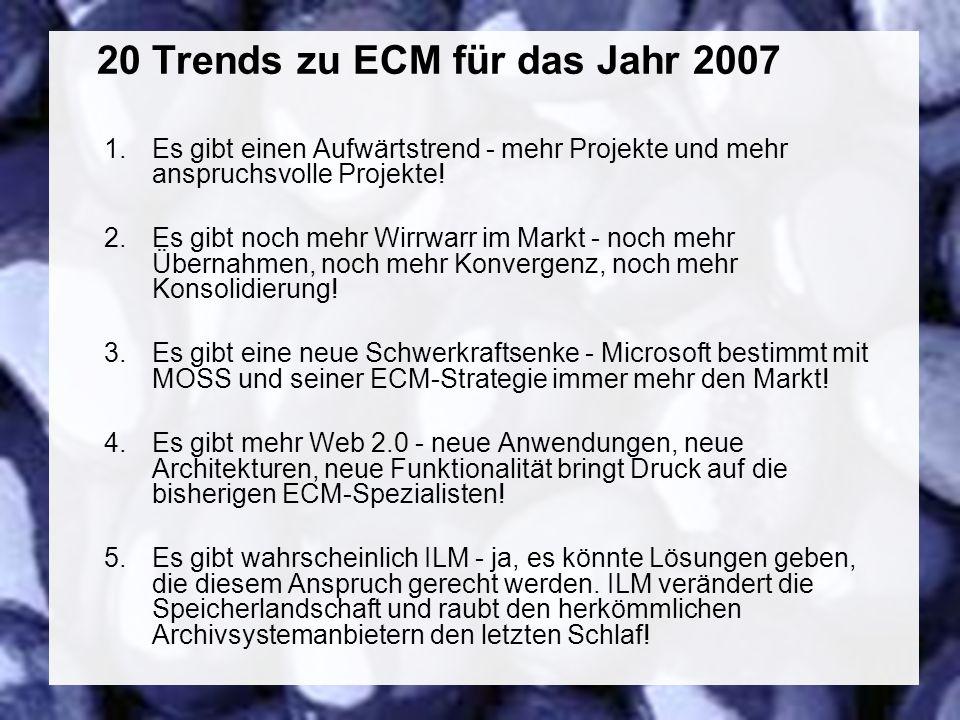 46 Coextant Enterprise Content Management: Status Quo und Zukunft Dr. Ulrich Kampffmeyer PROJECT CONSULT Unternehmensberatung Dr. Ulrich Kampffmeyer G