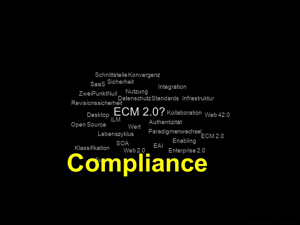 ECM 2.0? Standards Desktop Open Source EAI Integration Infrastruktur Web 42.0 ECM 2.0 Enterprise 2.0 ZweiPunktNull Web 2.0 SaaS SOA SchnittstelleKonve