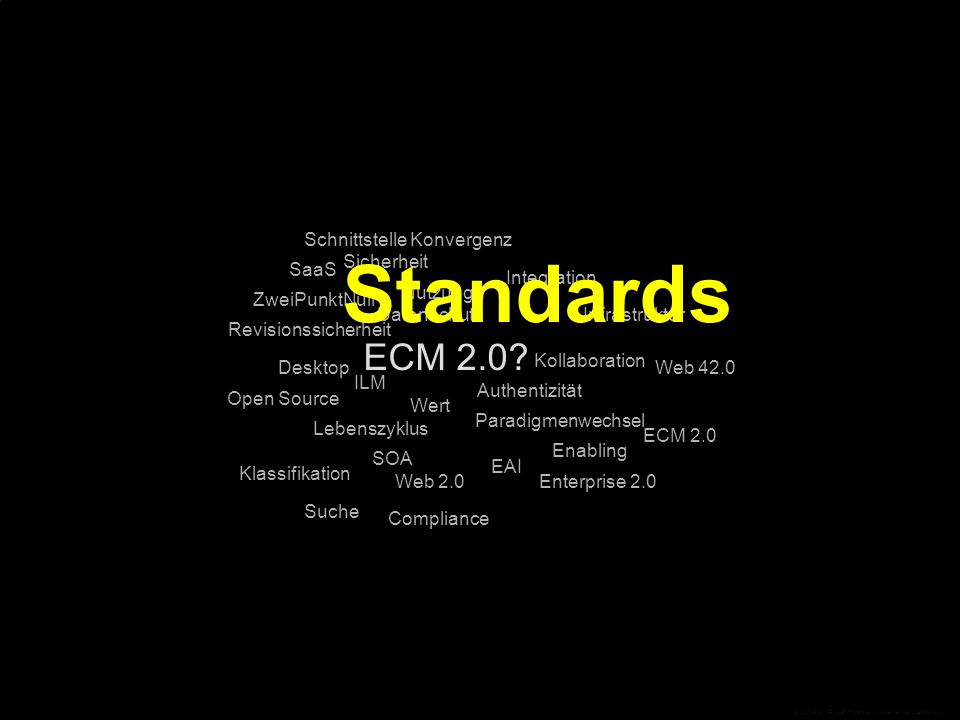 ECM 2.0? Compliance Desktop Open Source EAI Integration Infrastruktur Web 42.0 ECM 2.0 Enterprise 2.0 ZweiPunktNull Web 2.0 SaaS SOA SchnittstelleKonv