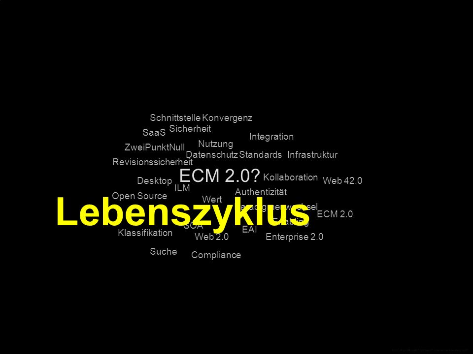 ECM 2.0? Standards Compliance Desktop Open Source EAI Integration Infrastruktur Web 42.0 ECM 2.0 Enterprise 2.0 ZweiPunktNull Web 2.0 SaaS SOA Schnitt