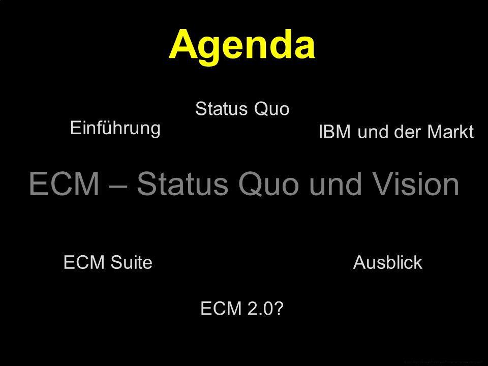 """Open Source und ECM 2.0 """"Nur die Komplexität der Lösungen und der Umfang der Anwenderanforderungen schützt die kommerziellen ECM-Produkte noch vor Open Source. """"Open Source Komponenten werden selbstverständlicher Bestandteil auch von kommerziellen ECM-Suiten werden – anders lässt sich die Kompatibilität zum Web-2.0- Umfeld und der Anschluss an die rasante Entwicklungsgeschwindigkeit neuer Technologien gar nicht halten. © CopyRight PROJECT CONSULT Unternehmensberatung 2007"""