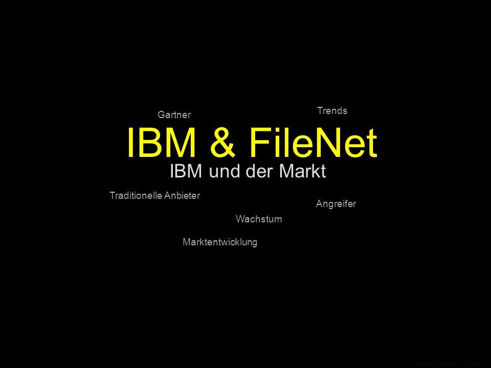 IBM und der Markt Gartner IBM & FileNet Angreifer Trends Traditionelle Anbieter Marktentwicklung Wachstum © CopyRight PROJECT CONSULT Unternehmensberatung 2007