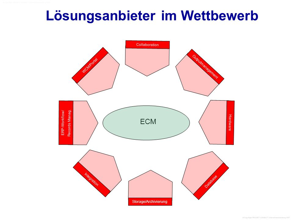 ECM Lösungsanbieter im Wettbewerb WCM/Portal Collaboration Outputmanagement Hardware ERP-Workflow/ Records Manag. Database Integration Storage/Archivi