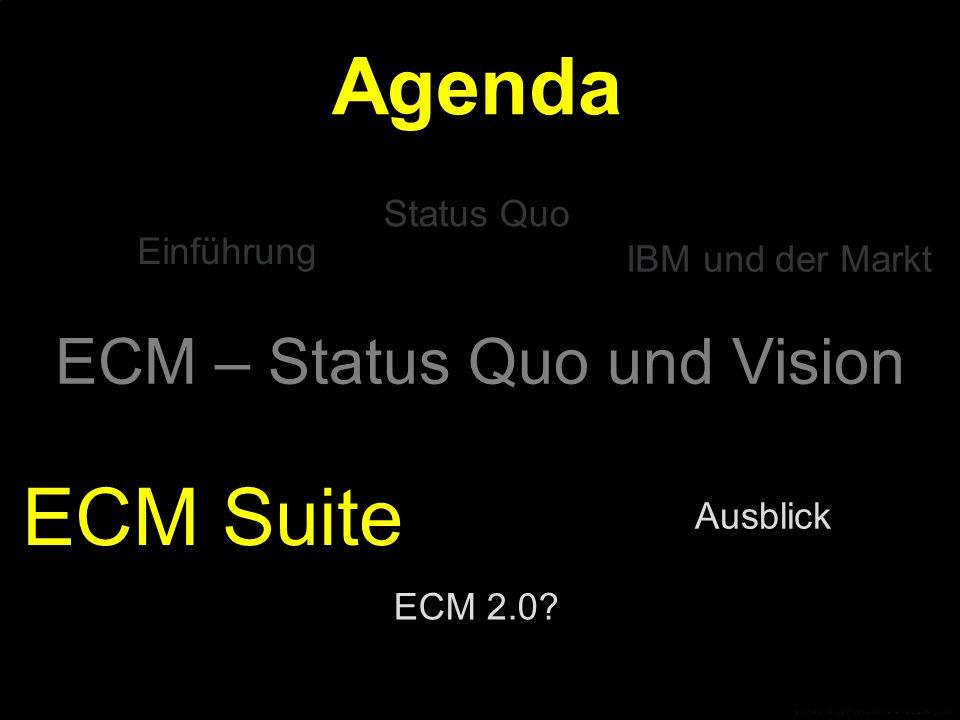 ECM – Status Quo und Vision Einführung Ausblick Status Quo ECM Suite Agenda IBM und der Markt ECM 2.0.