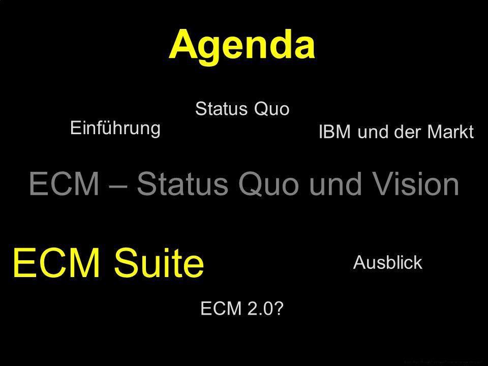 © CopyRight PROJECT CONSULT Unternehmensberatung 2007 ECM – Status Quo und Vision Einführung Ausblick Status Quo ECM Suite Agenda IBM und der Markt ECM 2.0.