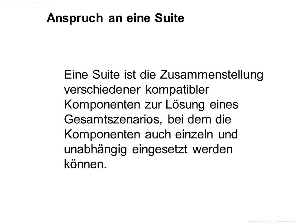Anspruch an eine Suite Eine Suite ist die Zusammenstellung verschiedener kompatibler Komponenten zur Lösung eines Gesamtszenarios, bei dem die Komponenten auch einzeln und unabhängig eingesetzt werden können.