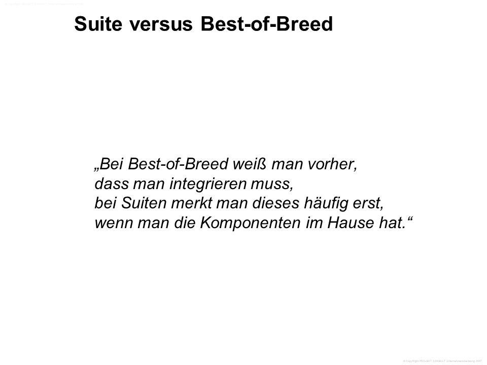 """Suite versus Best-of-Breed """"Bei Best-of-Breed weiß man vorher, dass man integrieren muss, bei Suiten merkt man dieses häufig erst, wenn man die Komponenten im Hause hat. © CopyRight PROJECT CONSULT Unternehmensberatung 2007"""