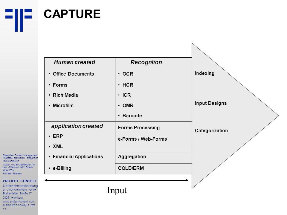 14 Enterprise Content Management: Prozesse optimieren - erfolgreich kommunizieren Nutzen und Erfolgsfaktoren für den Mittelstand beim Einsatz eines ECM Andreas Petersen PROJECT CONSULT Unternehmensberatung Dr.