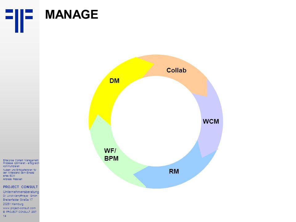 15 Enterprise Content Management: Prozesse optimieren - erfolgreich kommunizieren Nutzen und Erfolgsfaktoren für den Mittelstand beim Einsatz eines ECM Andreas Petersen PROJECT CONSULT Unternehmensberatung Dr.