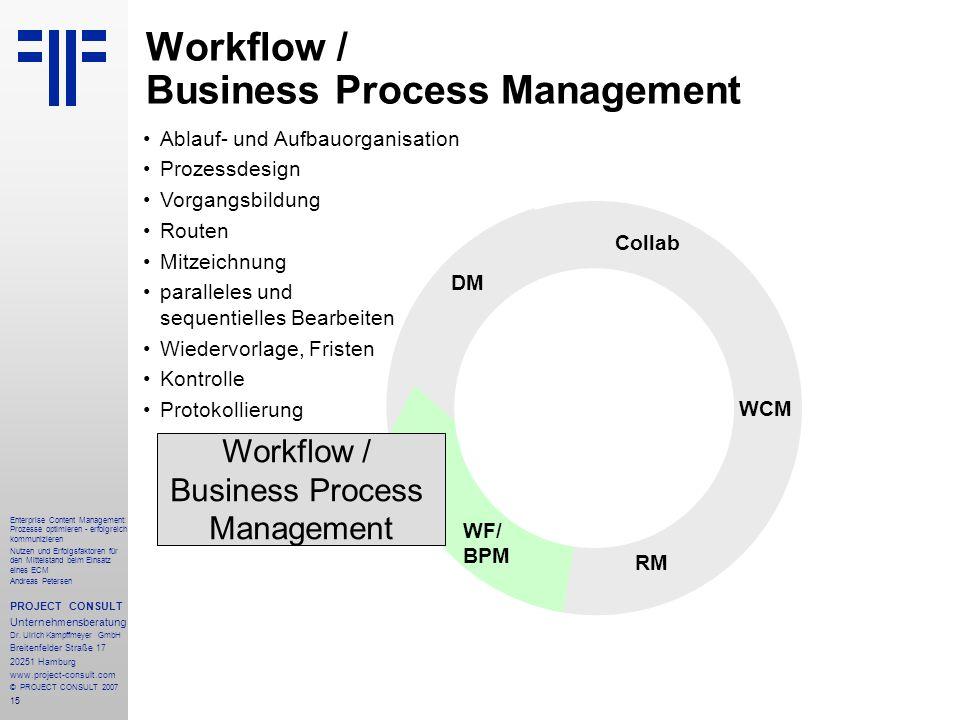 16 Enterprise Content Management: Prozesse optimieren - erfolgreich kommunizieren Nutzen und Erfolgsfaktoren für den Mittelstand beim Einsatz eines ECM Andreas Petersen PROJECT CONSULT Unternehmensberatung Dr.