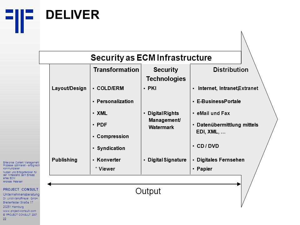 23 Enterprise Content Management: Prozesse optimieren - erfolgreich kommunizieren Nutzen und Erfolgsfaktoren für den Mittelstand beim Einsatz eines ECM Andreas Petersen PROJECT CONSULT Unternehmensberatung Dr.