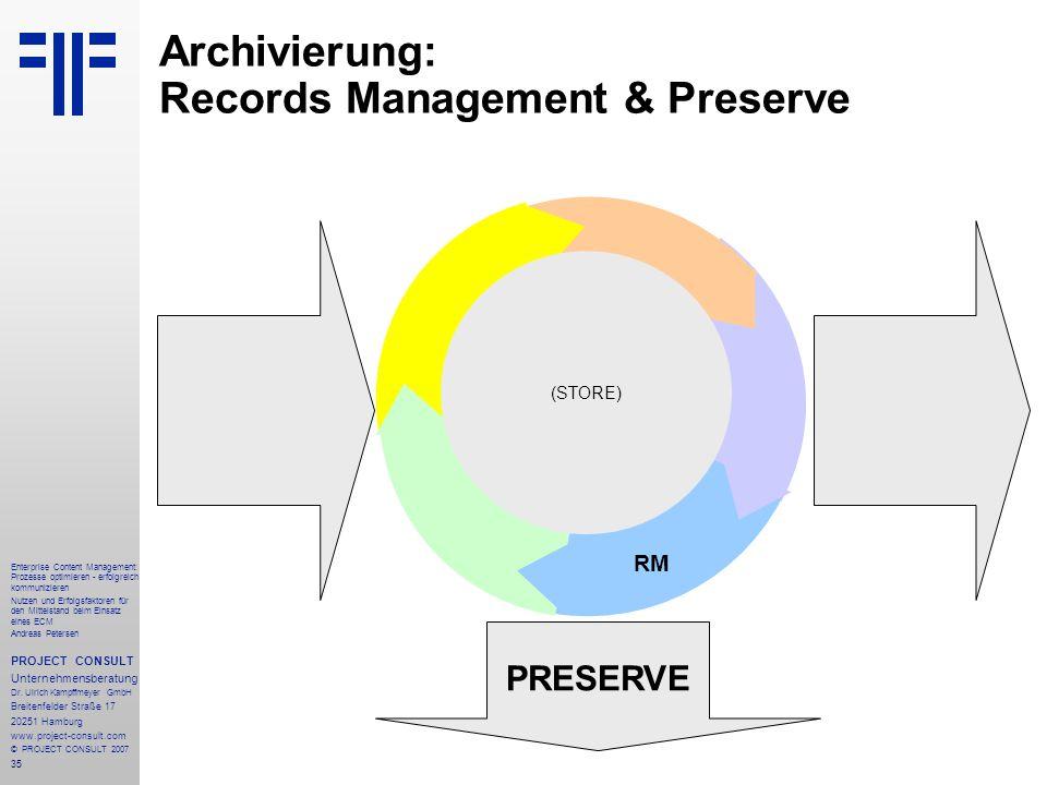 36 Enterprise Content Management: Prozesse optimieren - erfolgreich kommunizieren Nutzen und Erfolgsfaktoren für den Mittelstand beim Einsatz eines ECM Andreas Petersen PROJECT CONSULT Unternehmensberatung Dr.