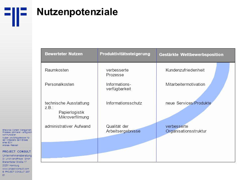 62 Enterprise Content Management: Prozesse optimieren - erfolgreich kommunizieren Nutzen und Erfolgsfaktoren für den Mittelstand beim Einsatz eines ECM Andreas Petersen PROJECT CONSULT Unternehmensberatung Dr.