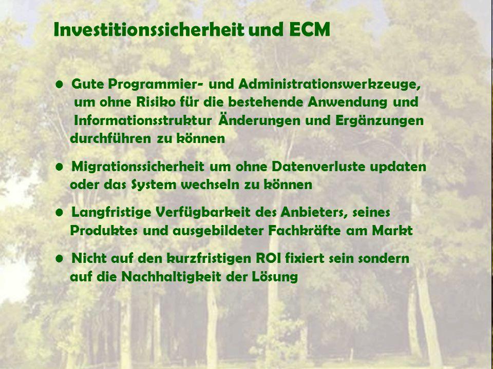 Investitionssicherheit und ECM Gute Programmier- und Administrationswerkzeuge, um ohne Risiko für die bestehende Anwendung und Informationsstruktur Än