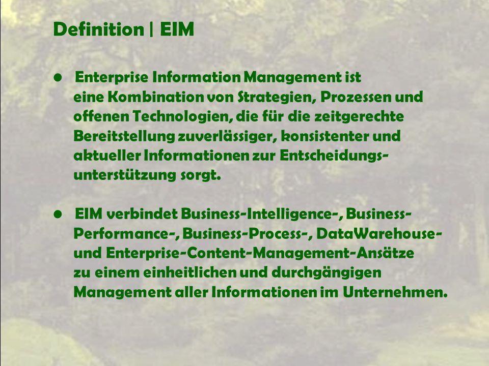 Definition | EIM Enterprise Information Management ist eine Kombination von Strategien, Prozessen und offenen Technologien, die für die zeitgerechte B