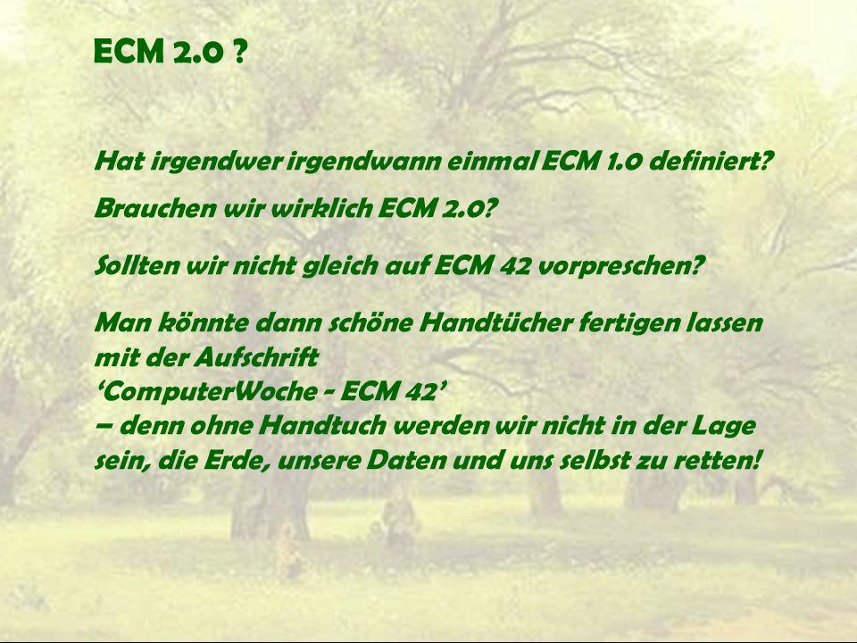 ECM 2.0 ? Hat irgendwer irgendwann einmal ECM 1.0 definiert? Brauchen wir wirklich ECM 2.0? Sollten wir nicht gleich auf ECM 42 vorpreschen? Man könnt
