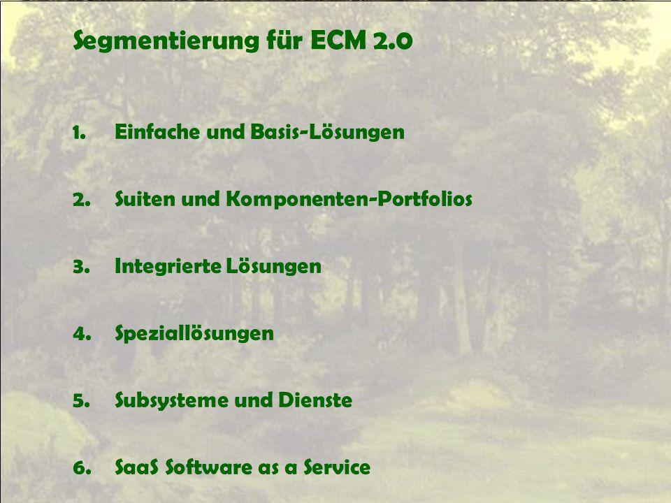 Segmentierung für ECM 2.0 1. Einfache und Basis-Lösungen 2. Suiten und Komponenten-Portfolios 3. Integrierte Lösungen 4. Speziallösungen 5. Subsysteme