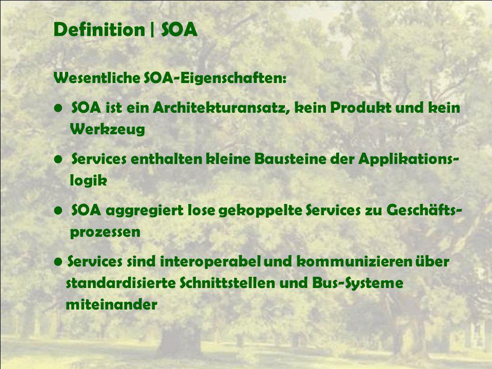 Definition | SOA Wesentliche SOA-Eigenschaften: SOA ist ein Architekturansatz, kein Produkt und kein Werkzeug Services enthalten kleine Bausteine der