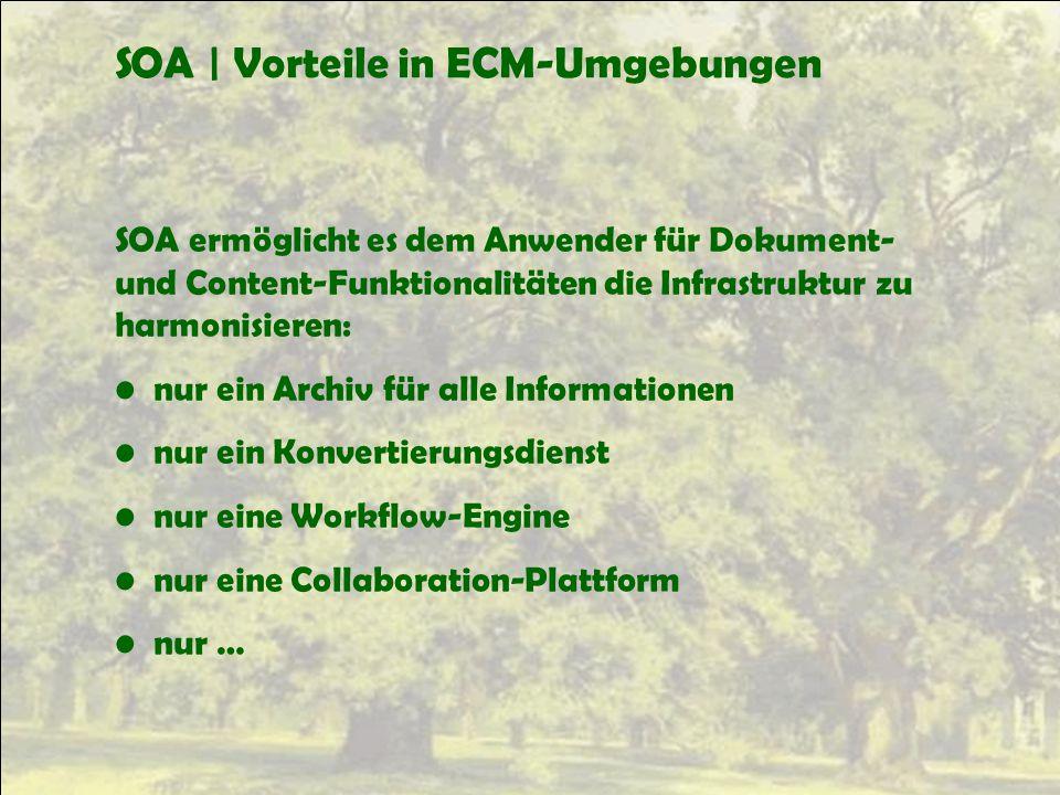 SOA | Vorteile in ECM-Umgebungen SOA ermöglicht es dem Anwender für Dokument- und Content-Funktionalitäten die Infrastruktur zu harmonisieren: nur ein