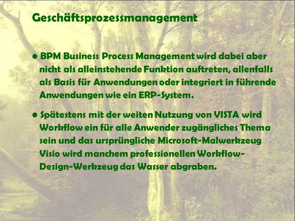Geschäftsprozessmanagement BPM Business Process Management wird dabei aber nicht als alleinstehende Funktion auftreten, allenfalls als Basis für Anwen