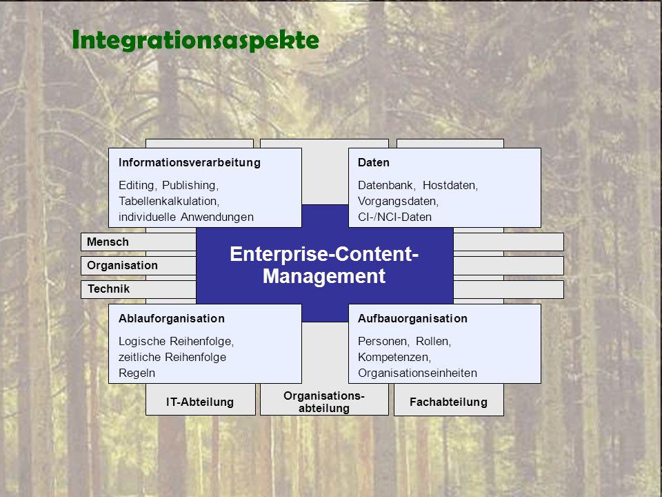 Integrationsaspekte Organisations- abteilung Mensch Organisation Technik Informationsverarbeitung Editing, Publishing, Tabellenkalkulation, individuel