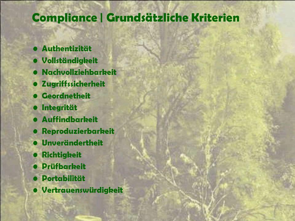 Compliance | Grundsätzliche Kriterien Authentizität Vollständigkeit Nachvollziehbarkeit Zugriffssicherheit Geordnetheit Integrität Auffindbarkeit Repr