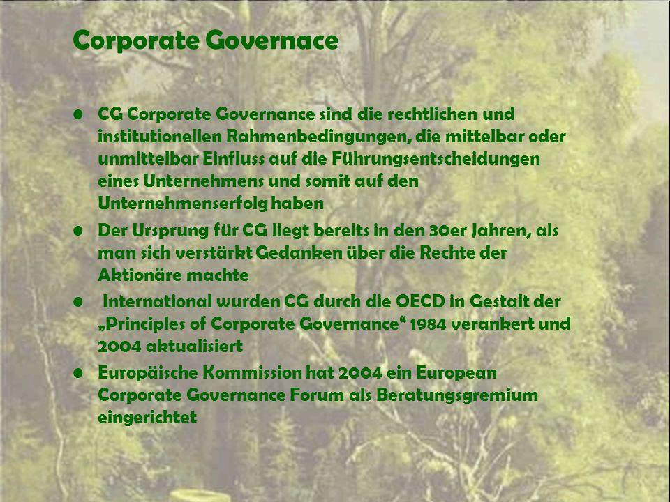 Corporate Governace CG Corporate Governance sind die rechtlichen und institutionellen Rahmenbedingungen, die mittelbar oder unmittelbar Einfluss auf d