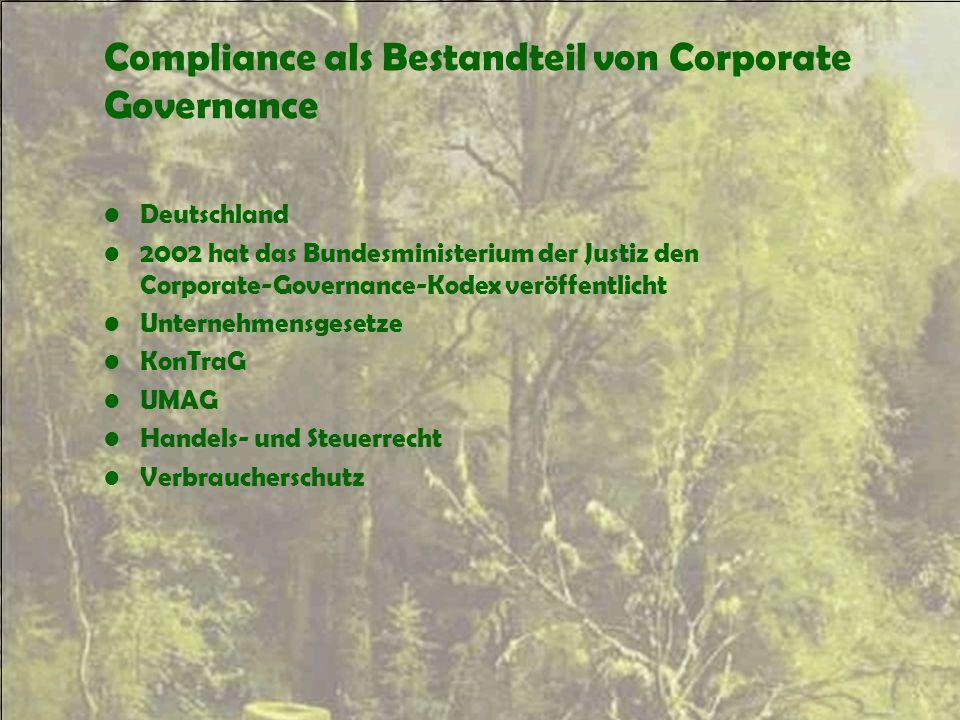 Compliance als Bestandteil von Corporate Governance Deutschland 2002 hat das Bundesministerium der Justiz den Corporate-Governance-Kodex veröffentlich
