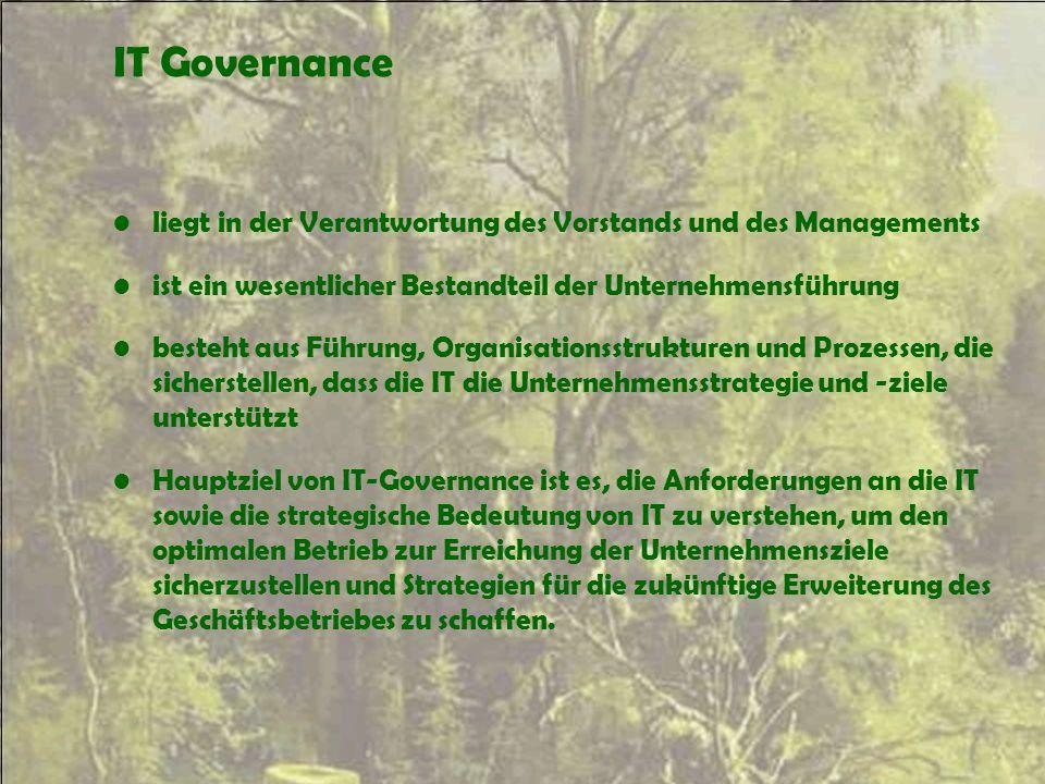 IT Governance liegt in der Verantwortung des Vorstands und des Managements ist ein wesentlicher Bestandteil der Unternehmensführung besteht aus Führun