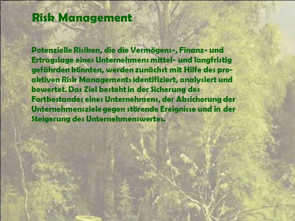 Risk Management Potenzielle Risiken, die die Vermögens-, Finanz- und Ertragslage eines Unternehmens mittel- und langfristig gefährden könnten, werden