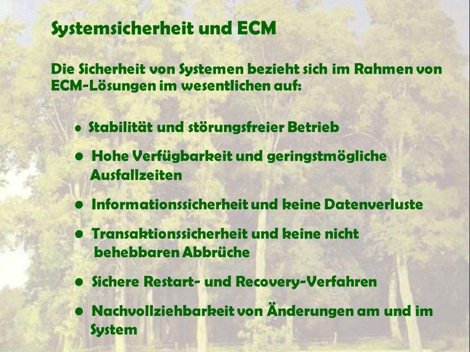 Systemsicherheit und ECM Die Sicherheit von Systemen bezieht sich im Rahmen von ECM-Lösungen im wesentlichen auf: Stabilität und störungsfreier Betrie