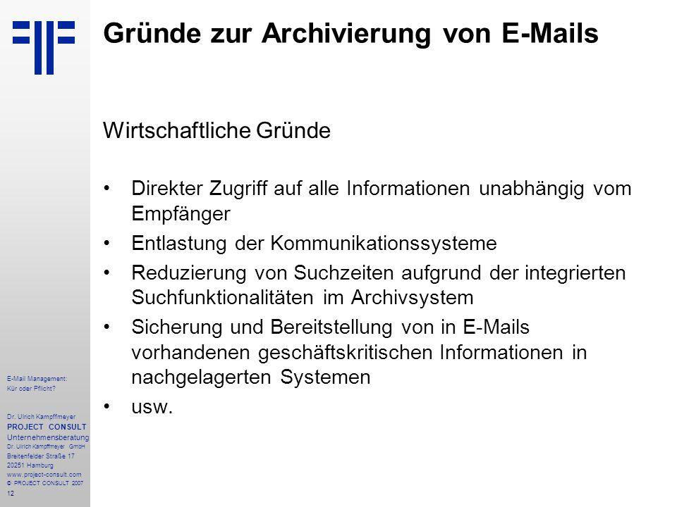 12 E-Mail Management: Kür oder Pflicht. Dr.
