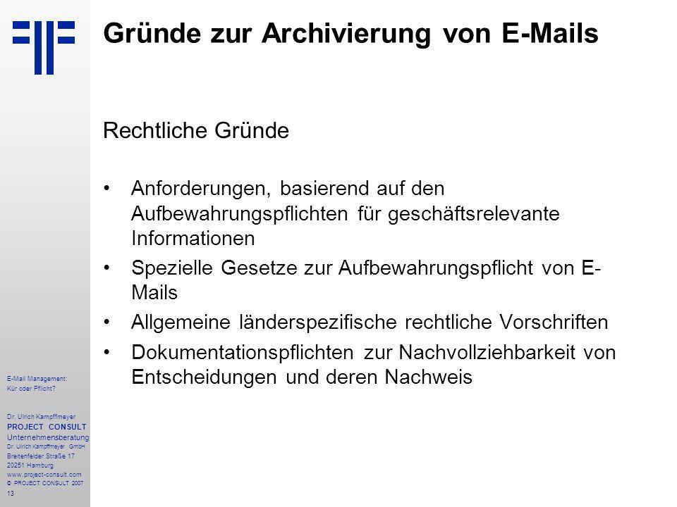 13 E-Mail Management: Kür oder Pflicht. Dr.