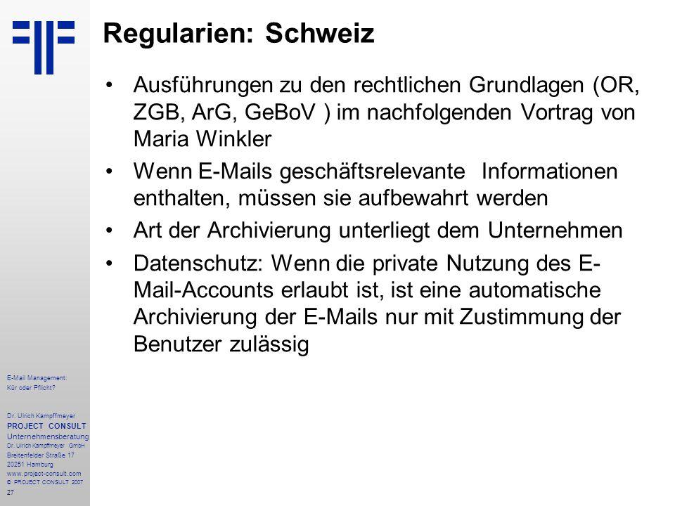 27 E-Mail Management: Kür oder Pflicht. Dr.