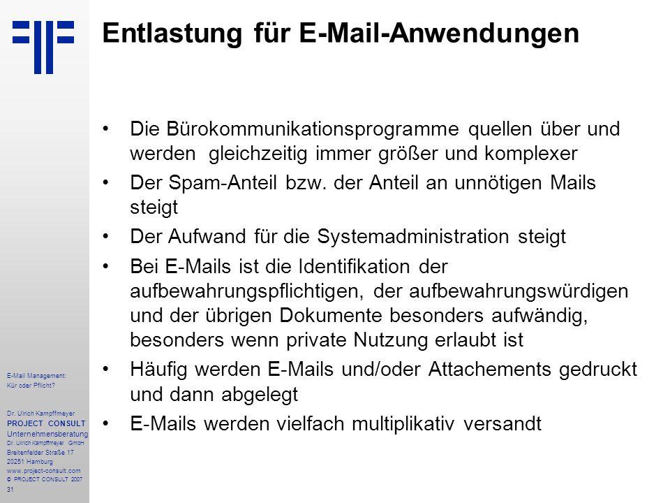 31 E-Mail Management: Kür oder Pflicht. Dr.