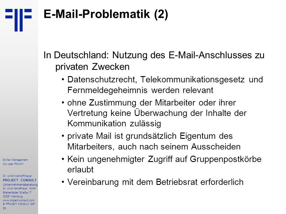 33 E-Mail Management: Kür oder Pflicht. Dr.