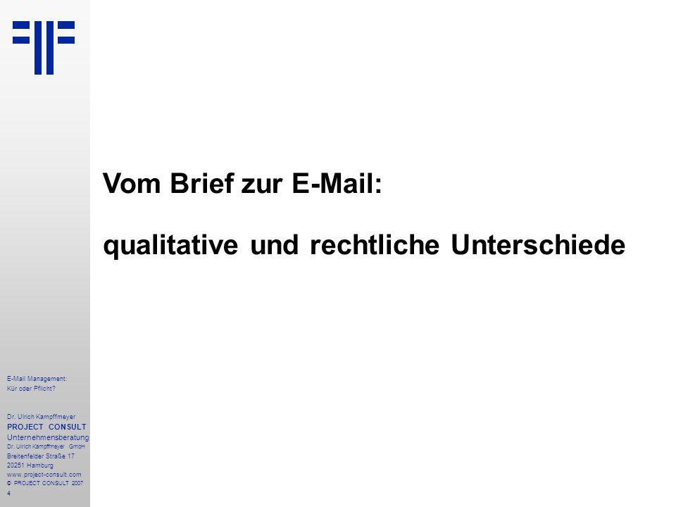 4 E-Mail Management: Kür oder Pflicht. Dr.