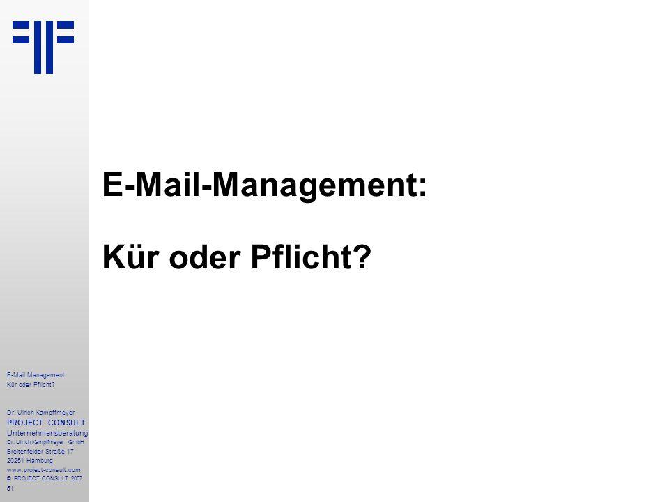 51 E-Mail Management: Kür oder Pflicht. Dr.