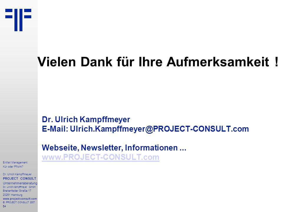 54 E-Mail Management: Kür oder Pflicht. Dr.