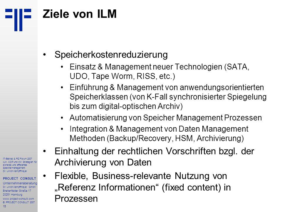 15 IT-Betrieb & RZ Forum 2007 ILM, CDP und IIM: Strategien für sicheres und effizientes Speichermanagement Dr.