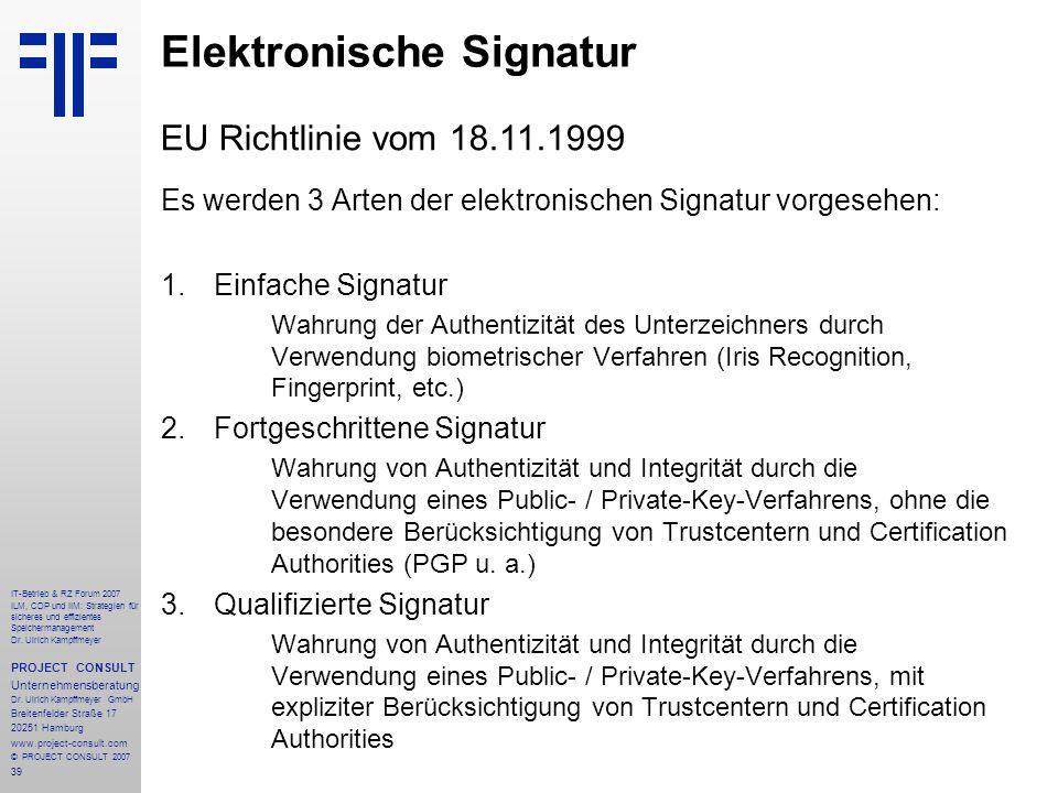 39 IT-Betrieb & RZ Forum 2007 ILM, CDP und IIM: Strategien für sicheres und effizientes Speichermanagement Dr.