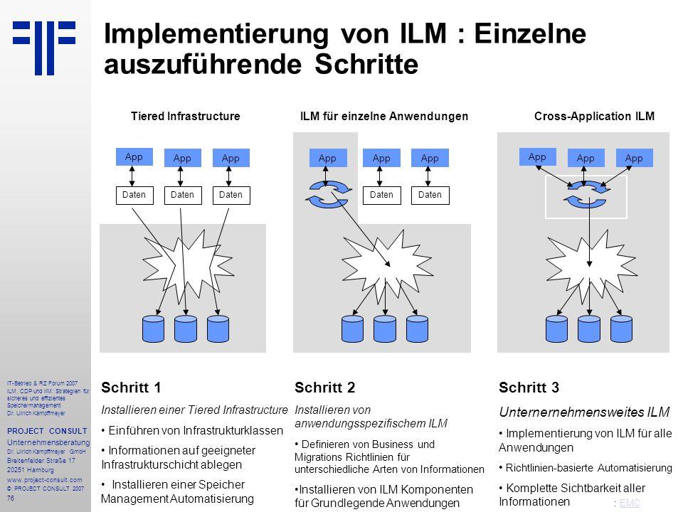 76 IT-Betrieb & RZ Forum 2007 ILM, CDP und IIM: Strategien für sicheres und effizientes Speichermanagement Dr.