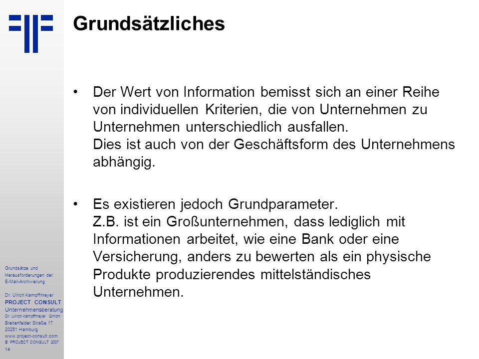 14 Grundsätze und Herausforderungen der E-Mail-Archivierung Dr. Ulrich Kampffmeyer PROJECT CONSULT Unternehmensberatung Dr. Ulrich Kampffmeyer GmbH Br
