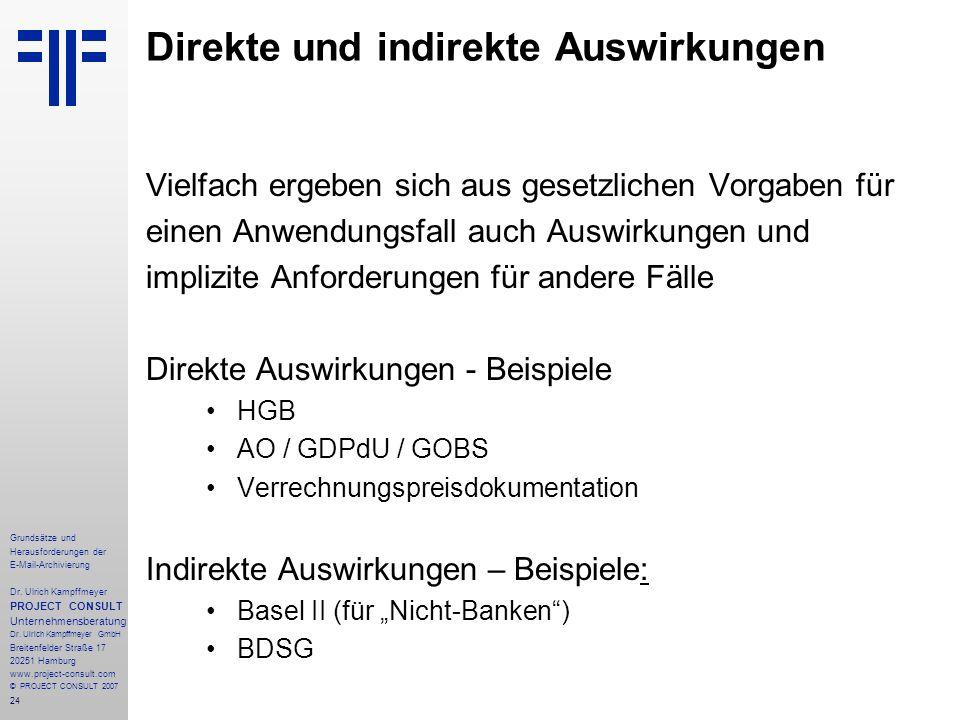 24 Grundsätze und Herausforderungen der E-Mail-Archivierung Dr. Ulrich Kampffmeyer PROJECT CONSULT Unternehmensberatung Dr. Ulrich Kampffmeyer GmbH Br