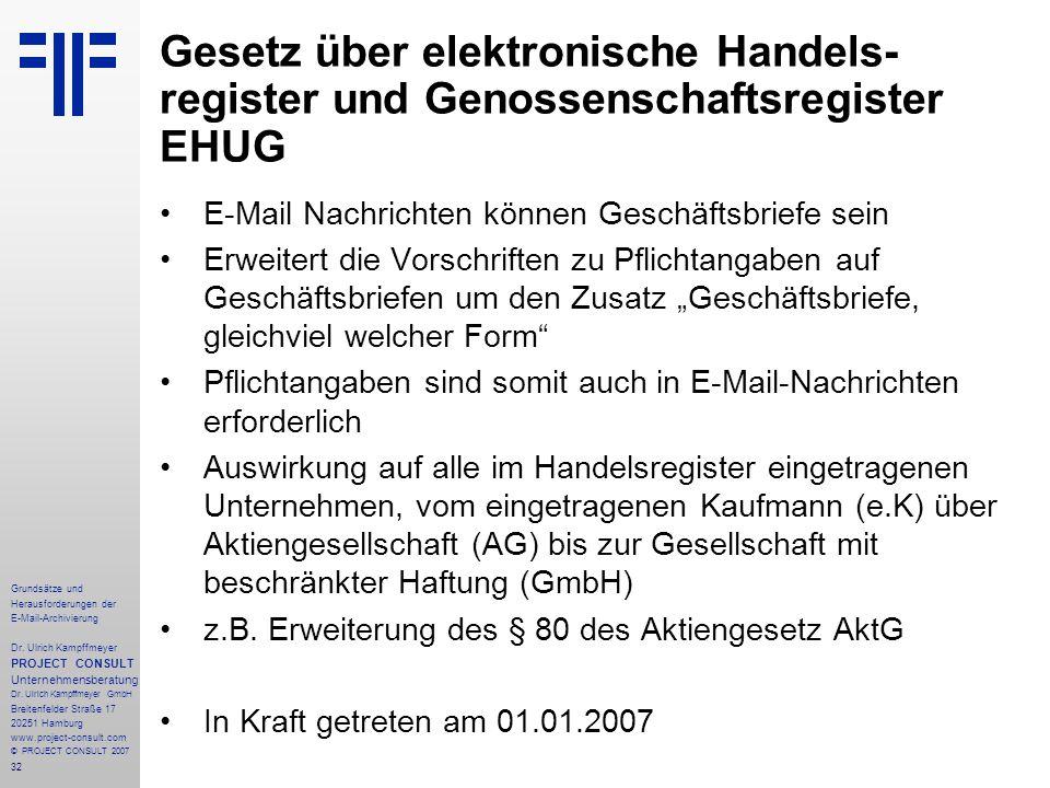32 Grundsätze und Herausforderungen der E-Mail-Archivierung Dr. Ulrich Kampffmeyer PROJECT CONSULT Unternehmensberatung Dr. Ulrich Kampffmeyer GmbH Br