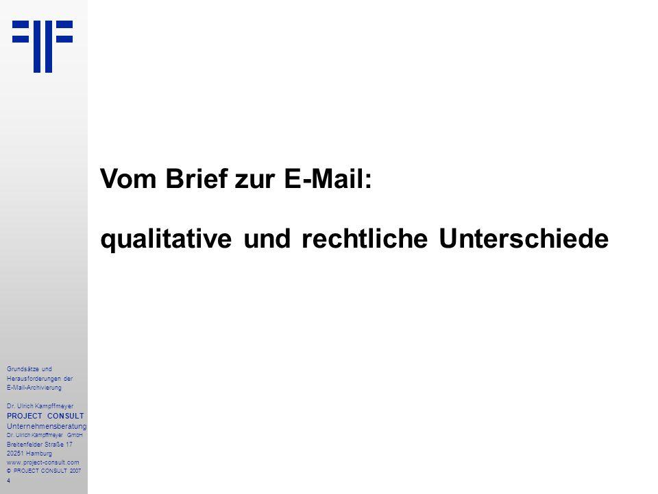 4 Grundsätze und Herausforderungen der E-Mail-Archivierung Dr. Ulrich Kampffmeyer PROJECT CONSULT Unternehmensberatung Dr. Ulrich Kampffmeyer GmbH Bre