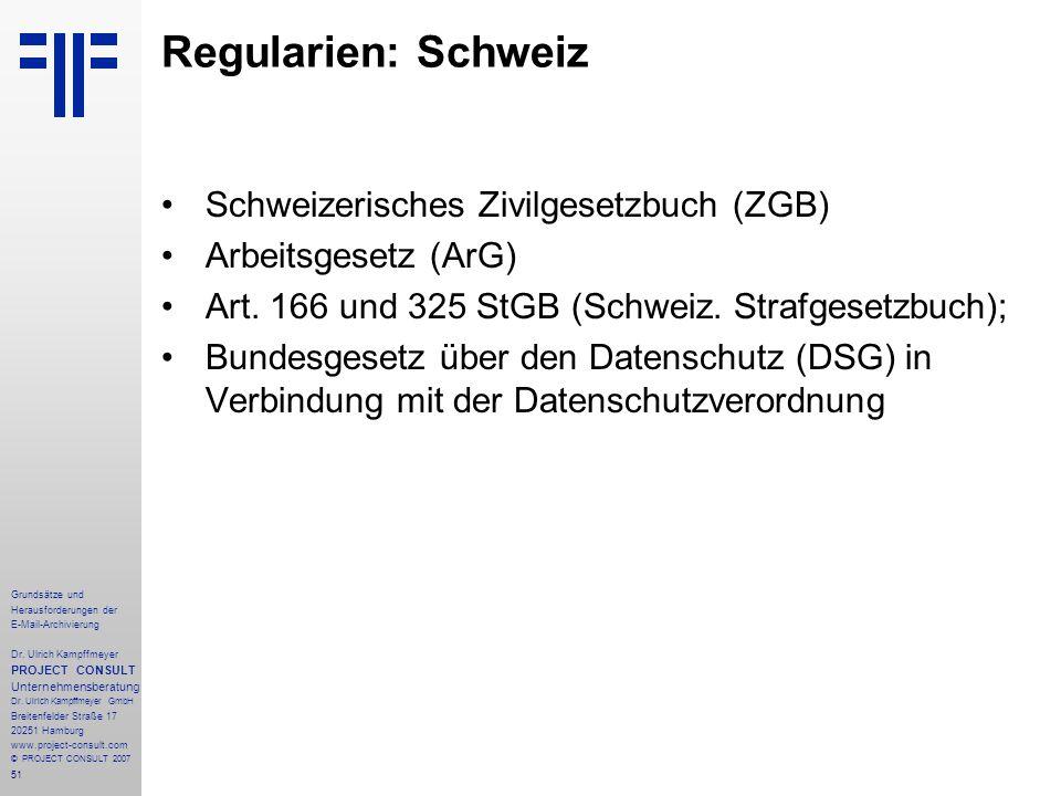 51 Grundsätze und Herausforderungen der E-Mail-Archivierung Dr. Ulrich Kampffmeyer PROJECT CONSULT Unternehmensberatung Dr. Ulrich Kampffmeyer GmbH Br
