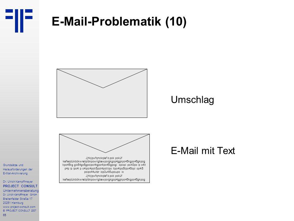 65 Grundsätze und Herausforderungen der E-Mail-Archivierung Dr. Ulrich Kampffmeyer PROJECT CONSULT Unternehmensberatung Dr. Ulrich Kampffmeyer GmbH Br